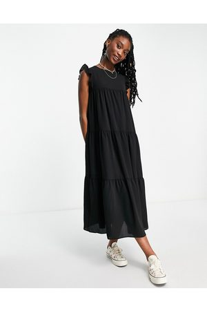 ASOS Sleeveless tiered midi dress with frills in