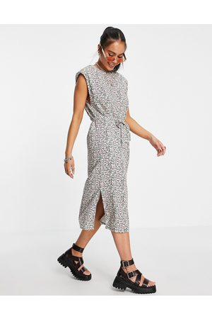 Only Women Casual Dresses - Midi dress with shoulder pads and tie waist in floral print