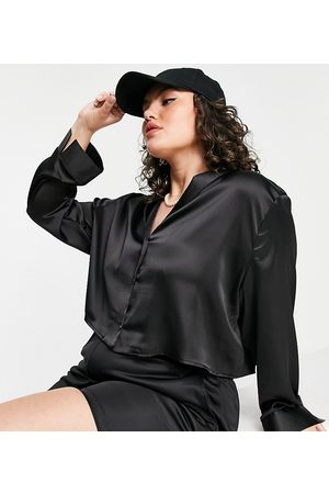 Flounce London Plus Cropped long sleeve satin shirt co-ord in
