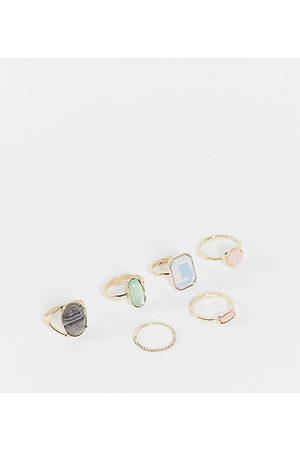 ASOS Curve Women Rings - ASOS DESIGN Curve pack of 6 rings with multi coloured stones in tone