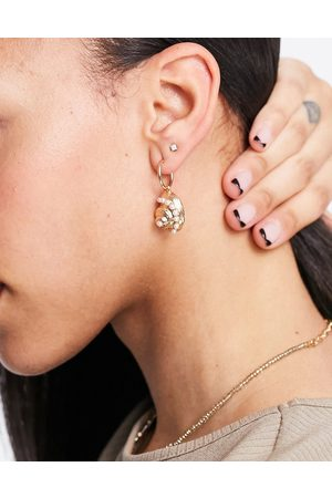 ASOS DESIGN Hoop earring with shell charm in tone
