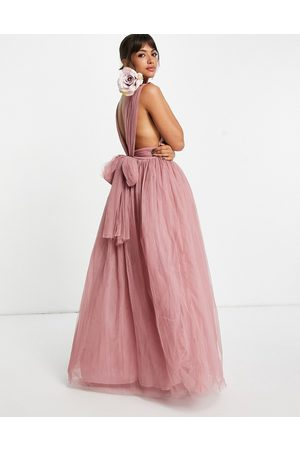 ASOS DESIGN Tulle plunge maxi dress dress with bow back detail in rose