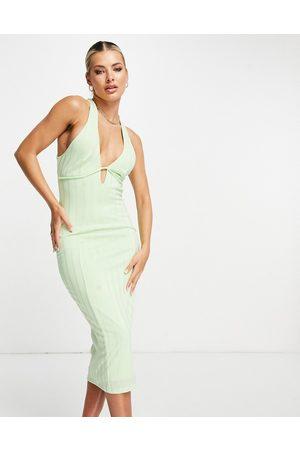 ASOS Women Halterneck Dresses - Rib under bust seam halter cross back midi dress in lime-Multi