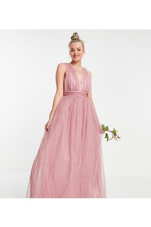 ASOS Tall Women Party Dresses - ASOS DESIGN Tall tulle plunge maxi dress dress with bow back detail in rose
