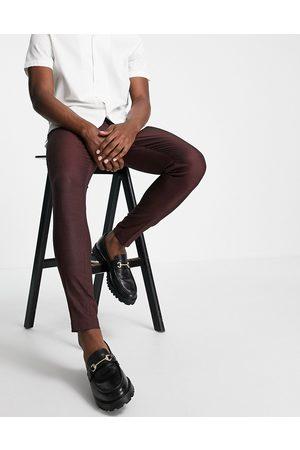 ASOS DESIGN Skinny smart trouser in burgundy pin dot