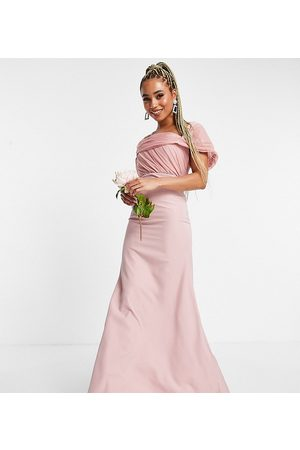 Missguided Women Party Dresses - Bridesmaid bandeau gown with organza detail in blush