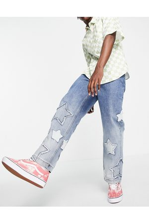 Jaded London Men Straight - Skate jeans in with star applique