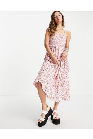 Only Women Printed Dresses - Cami midi sundress with shirring in floral print