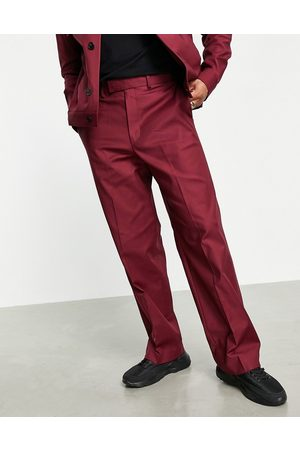 ASOS DESIGN Smart wide leg trousers co-ord in burgundy