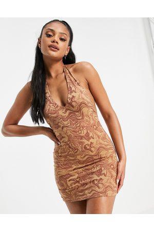 Motel Women Bodycon Dresses - Halter neck bodycon dress in marble print
