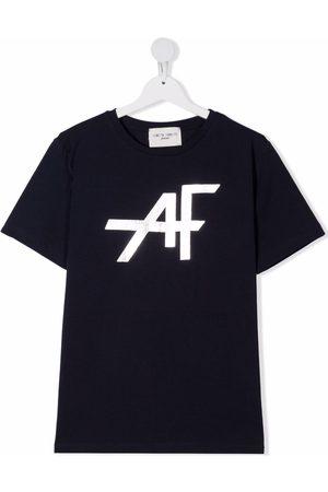 Alberta Ferretti Girls Short Sleeve - TEEN metallic-logo print T-shirt
