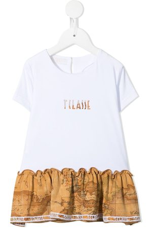 Alviero Martini Girls Short Sleeve - Flared map-print hem T-shirt