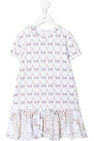 Alviero Martini Girls Casual Dresses - Monogram-print drop-waist dress