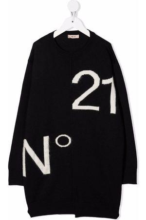 Nº21 Girls Knitted Dresses - Intarsia-knit logo dress