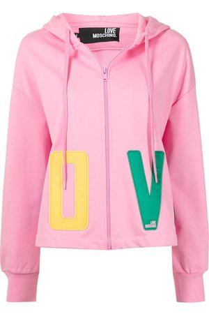 Love Moschino Women Jumpers - Logo-print pullover hoodie