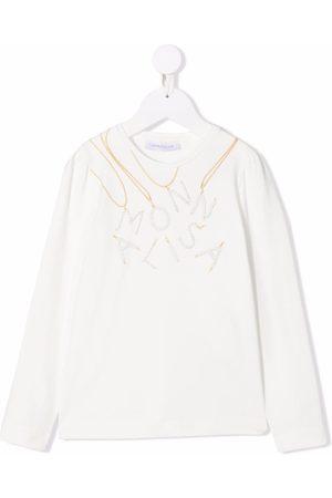 MONNALISA Rhinestone logo stretch-cotton T-shirt
