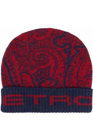 Etro Men Beanies - Paisley-pattern wool beanie