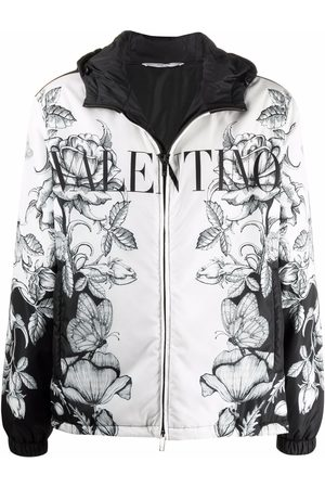 VALENTINO Men Jackets - Floral-butterfly print hooded jacket