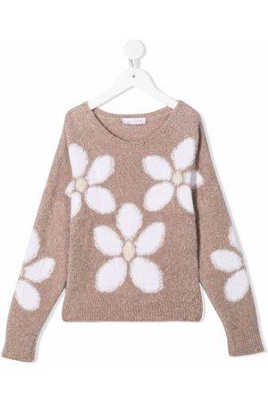 MONNALISA Girls Jumpers - Floral intarsia rib-trimmed jumper
