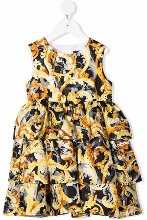 VERSACE Tiered Barrocoflage-print silk dress