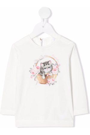MONNALISA Cat-print long-sleeve T-shirt