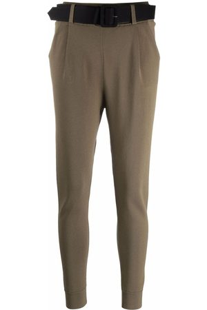 Self-Portrait Belt-waisted knit trousers