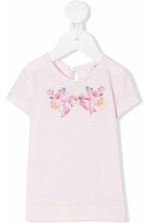 MONNALISA Baby Short Sleeve - Floral-print cotton T-shirt
