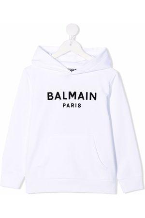Balmain Boys Hoodies - Logo-print cotton hoodie