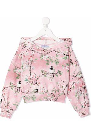 MONNALISA Girls Hoodies - Floral-print velour hoodie