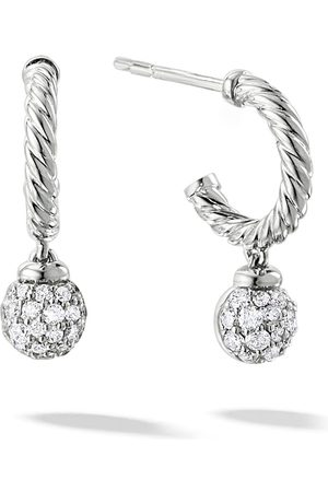 David Yurman 18kt white gold diamond Solari hoop earrings