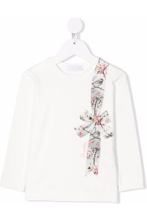 MONNALISA Girls Long Sleeve - Bow-print long-sleeved T-shirt