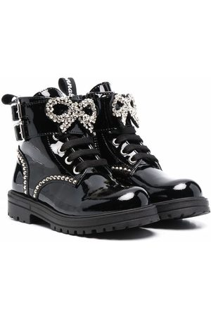 MONNALISA Girls Ankle Boots - Crystal-embellished patent leather boots