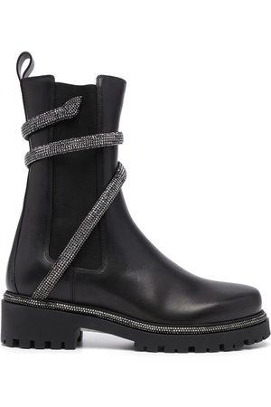 RENÉ CAOVILLA Snake-embellished leather ankle boots