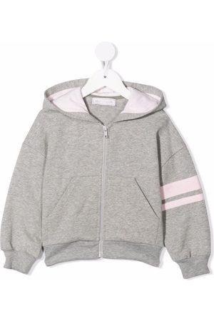 MONNALISA Girls Hoodies - Stripe-detail zipped hoodie