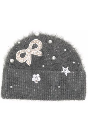 MONNALISA Crystal-embellished fuzzy-knit beanie