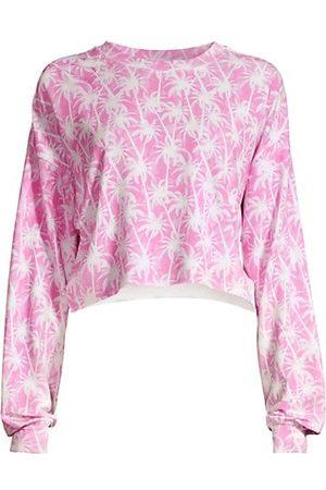 Stripe & Stare Women Jumpers - Copacabana Palm Tree-Print Crop Sweatshirt