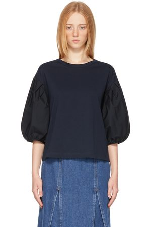 See by Chloé Navy Puff Sleeve T-Shirt
