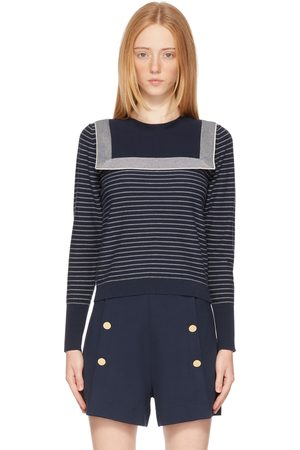 See by Chloé Navy Cotton Stripe Sweater