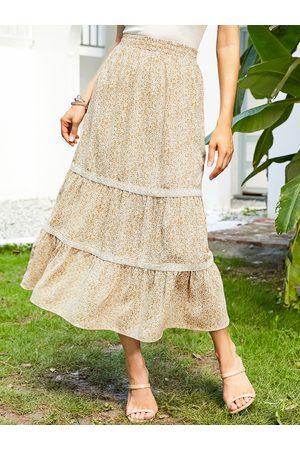 YOINS Calico Tiered Design Maxi Skirt