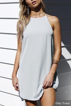 YOINS Light Gray Halter Sleevesless Mini Dress
