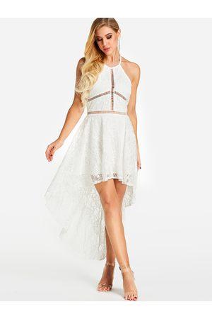 YOINS Hollow Design Halter Irregular Hem Dress