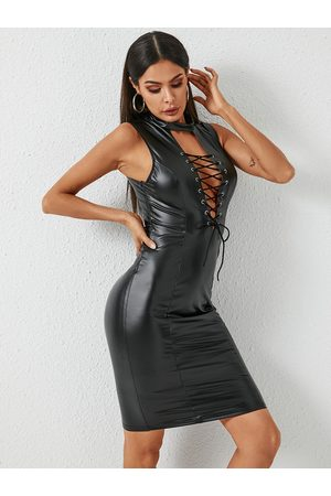 YOINS Lace-up Hollow Design Sleeveless Faux Leather Dress