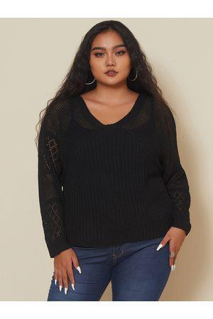 YOINS Women Long Sleeve - Plus Size Crochet V-neck Long Sleeves Knitwear