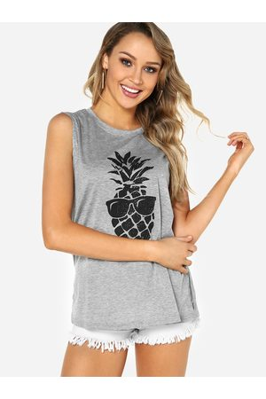 YOINS Round Neck Cami Top With Pineapple Pattern
