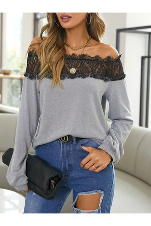YOINS Lace Patchwork Off The Shoulder Long Sleeves Tee