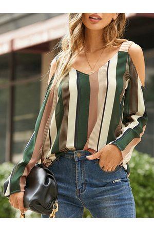 YOINS Cold shoulder Striped Long sleeves T-shirt