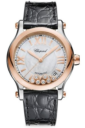 Chopard Happy Sport 18K Rose Gold, Stainless Steel, Diamond & Alligator Strap Watch