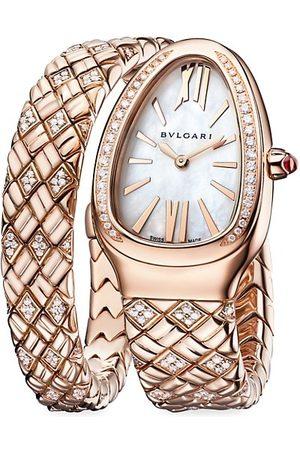 BVLGARI Lady Serpenti 18K Rose , Diamond & White Mother-Of-Pearl Bracelet Watch