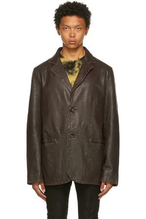 Men Leather Jackets - FREI-MUT Brown Leather Anima Jacket