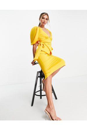 ASOS Tie side sweetheart puff sleeve pencil midi dress in marigold
